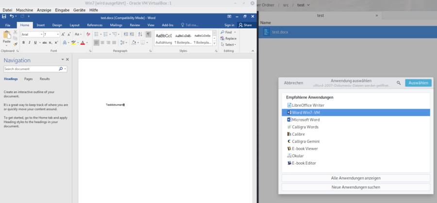 Opening MS Office Word documents in a VM