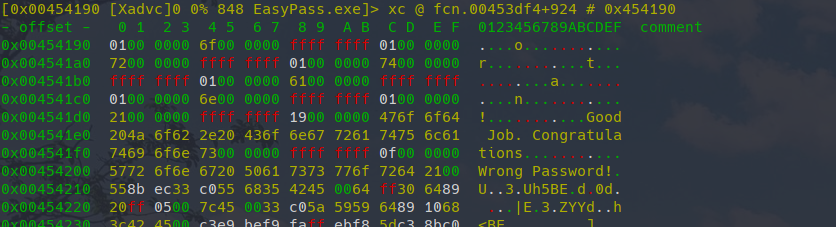 Hexdump of binary